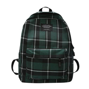 Canvas school Backpacks casual Bookbag Check design Hit Colors Large Capacity Women Travel for Teenage Girls - zavitoro.myshopify.com