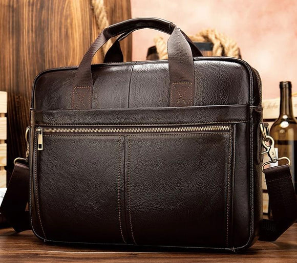 Laptop Business briefcase messenger bag men's genuine leather 14'' laptop bag men's briefcases office business tote for document 8572 - zavitoro