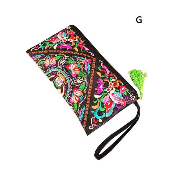 Ethnic Embroidery Clutch Bag long Wallet Coins Purse Bags Embroidered Flower Women's Small Handbag  3 Styles - zavitoro