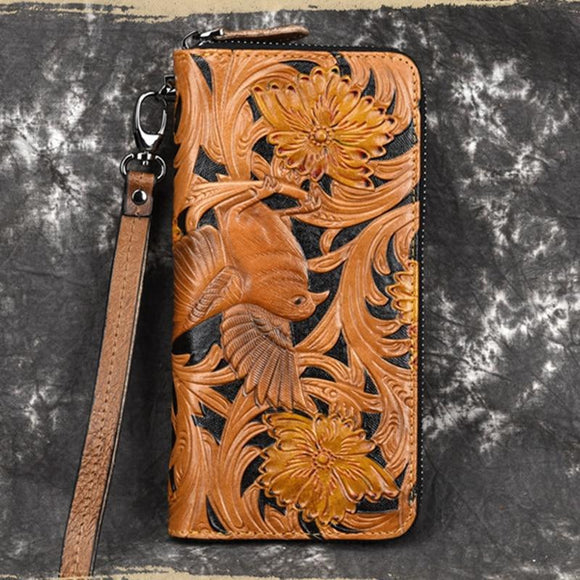 Long wallet premium quality highgrade first layer cowhide Genuine Leather Clutch Coin bag Cards Clip Holder Retro Multi-Pocket Natural Skin Wrist Long Purse - zavitoro.myshopify.com
