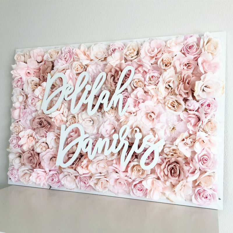 rose gold name sign rose gold decor rose gold baby shower flower wall decor girl nursery decor girl