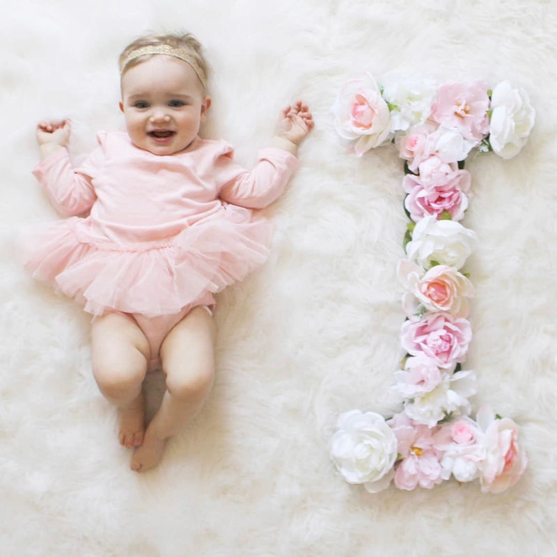 milestone photo idea milestone pictures floral letter flower letter photo prop newborn photo prop