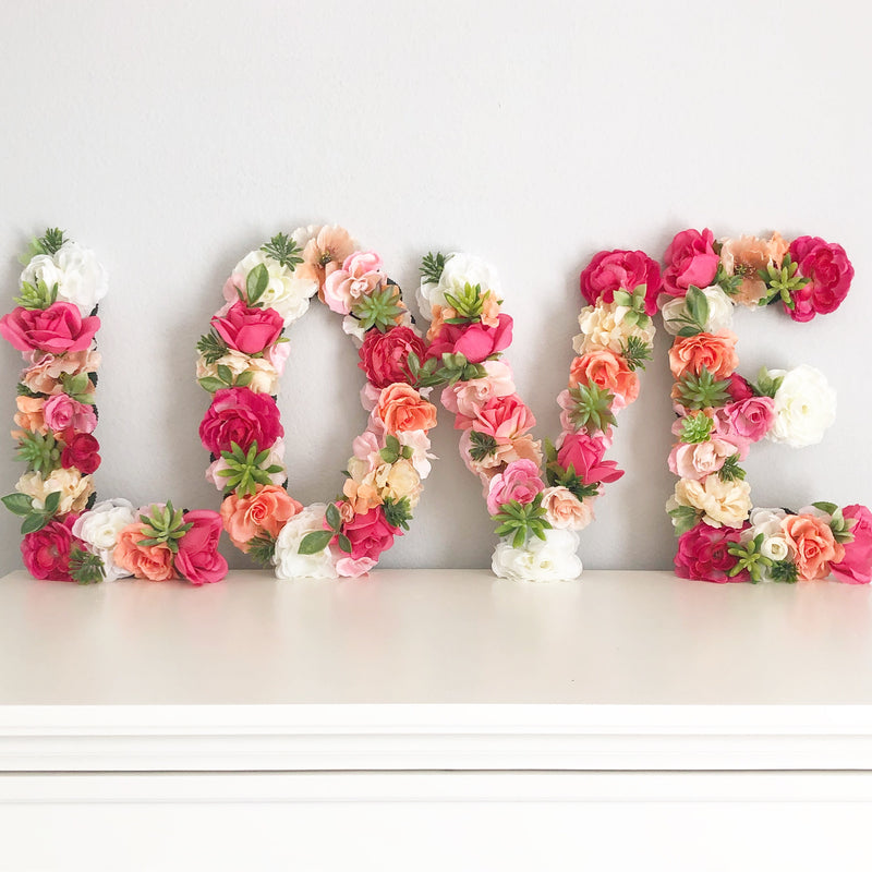 Love Sign love decor love wall art love wedding sign love nursery sign love room decor love shower decor floral letters baby name sign