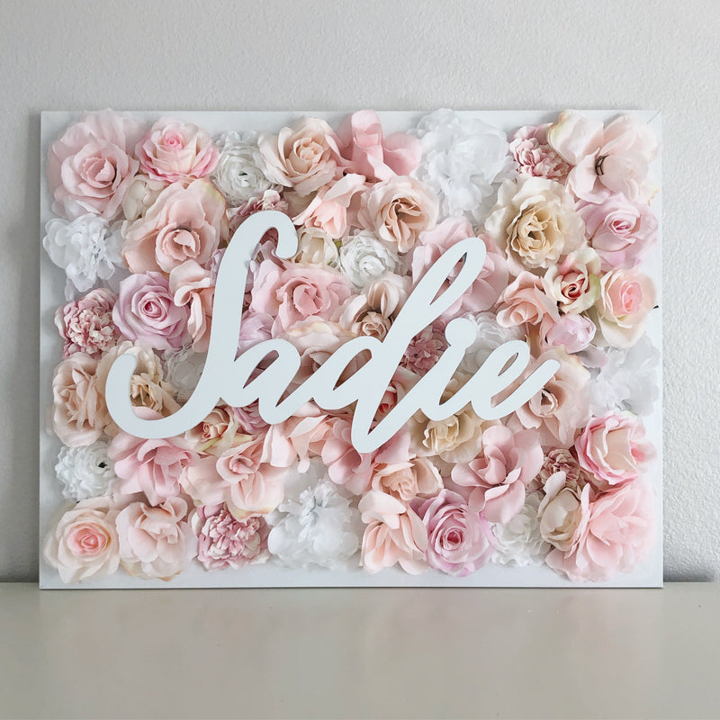 girl room decor wall art name sign flower wall name sign birthday name sign floral birthday decor floral baby shower flower wall nursery decor girl nursery decor name sign