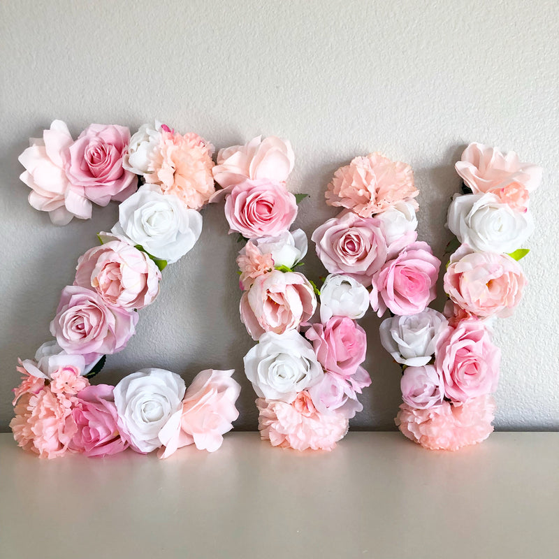 blush pink name sign blush pink wall decor flower wall art floral monogram baby shower initials baby shower monogram floral baby shower first birthday sign