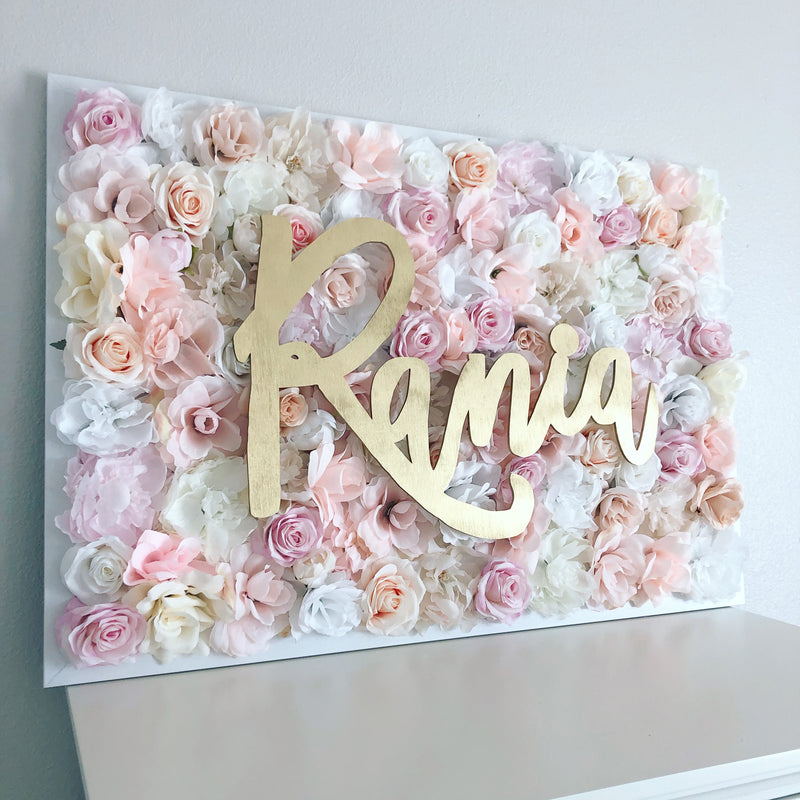pale pink and gold wall decor flower wall flower wall nursery decor girl nursery decor name sign