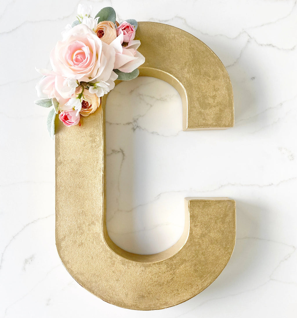 Gold Birthday Table Decor, Girl Birthday Photo Prop, Gold Name Letters, Baby Girl Shower Decor Girl, Name Reveal Letter, Freestanding Letter