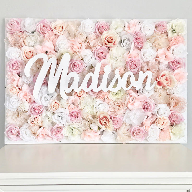 Flower Wall with Name Sign