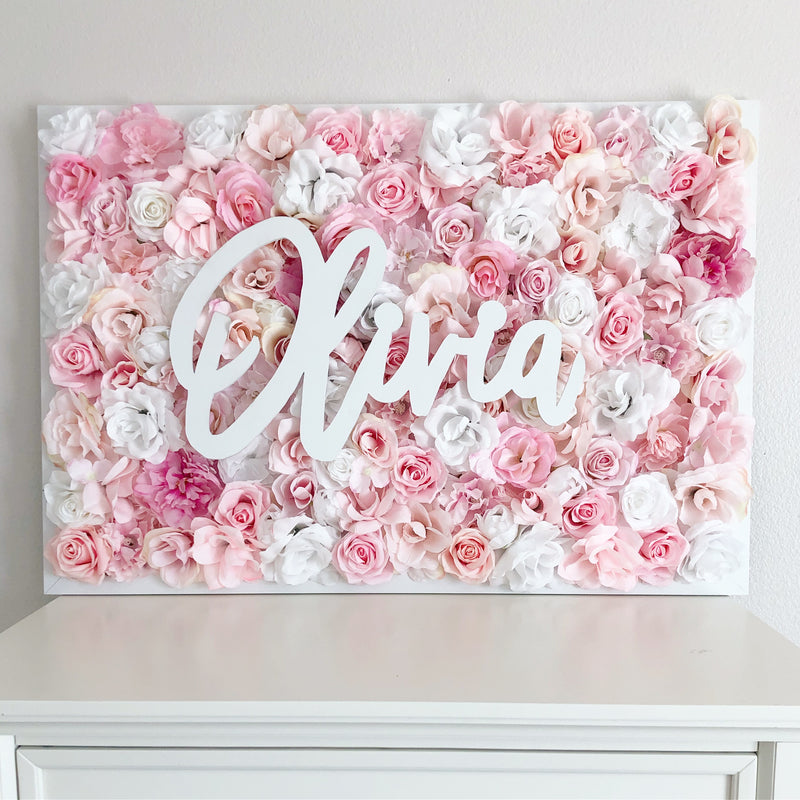 flower wall nursery decor girl nursery decor name sign baby shower gift