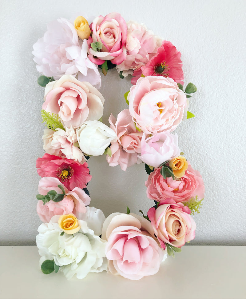 floral letter flower letter blush pink nursery flower birthday party floral birthday party girl birthday girl party decor girl room art