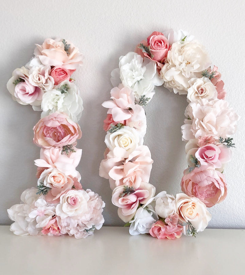 tenth birthday decor 10th birthday decor girl birthday decor floral number flower number