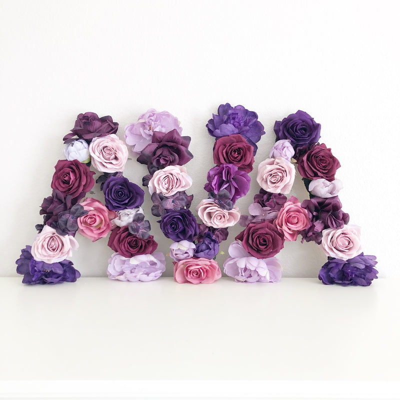 purple nursery plum nursery floral letter nursery decor girl name sign