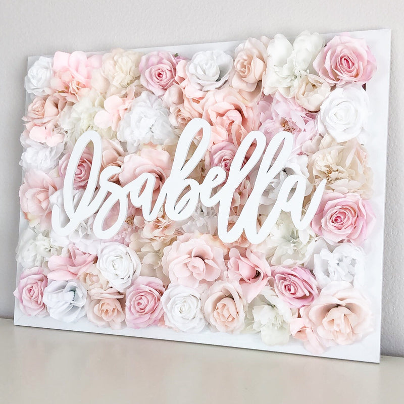 blush baby shower flower wall nursery decor girl nursery decor name sign