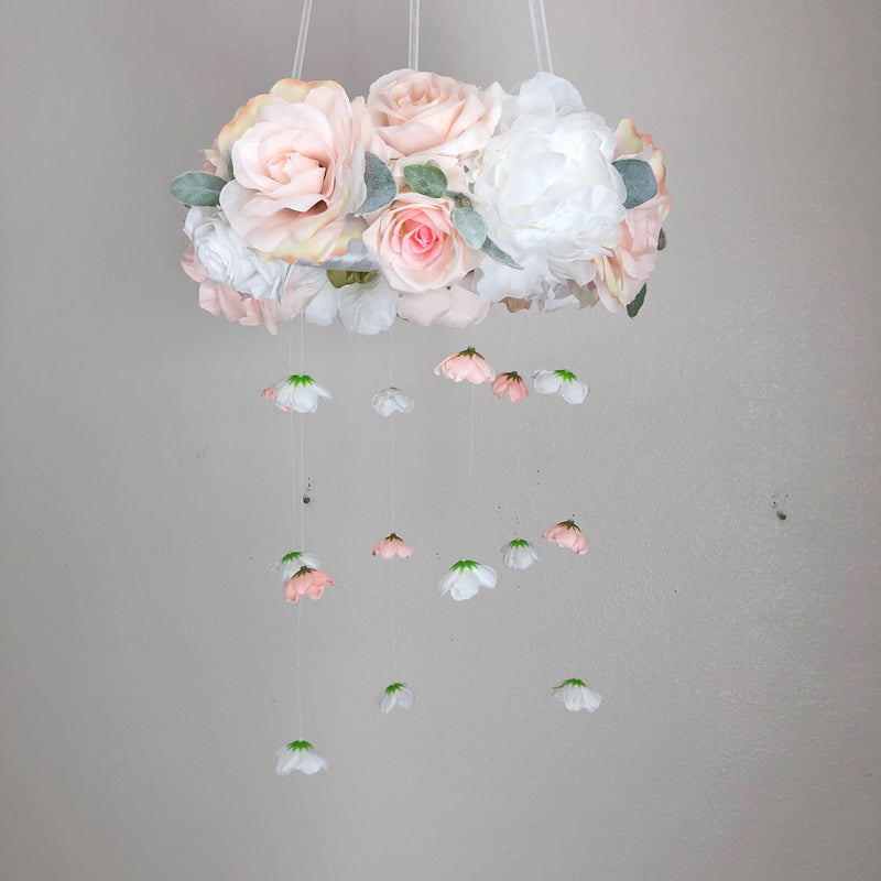 flower baby mobile floral mobile baby blush mobile blush nursery decor
