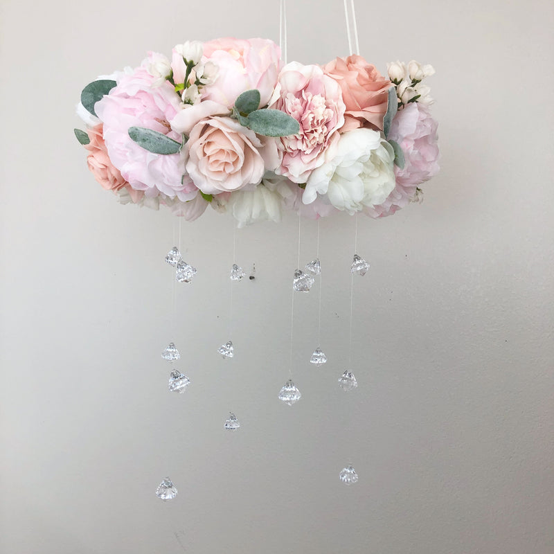 blush nursery decor floral mobile flower mobile girl mobile