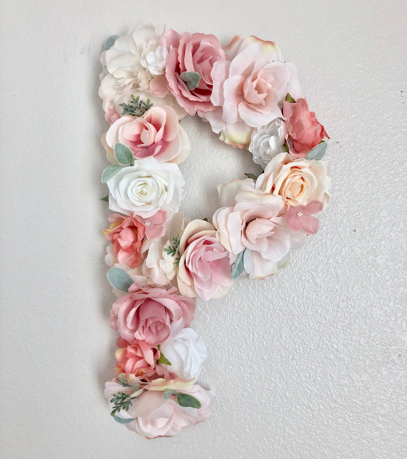 baby girl wall art floral wall flower wall decor floral letter flower letter name sign