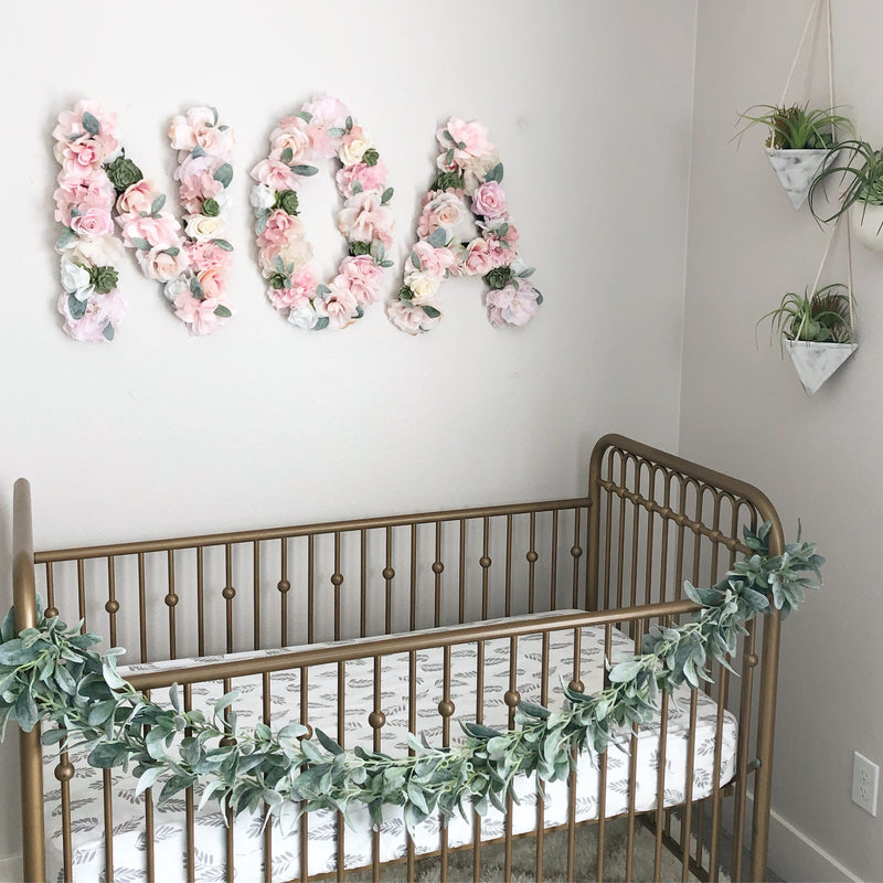baby name sign nursery sign crib sign crib decor nursery decor floral letter wall letters flower wall
