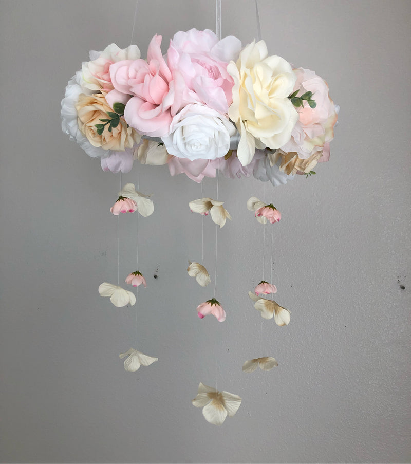 flower baby mobile floral mobile baby girl gift shabby chic baby