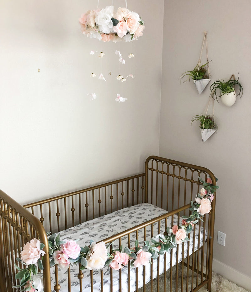 blush nursery decor blush decor baby mobile girl mobile floral mobile crib mobile