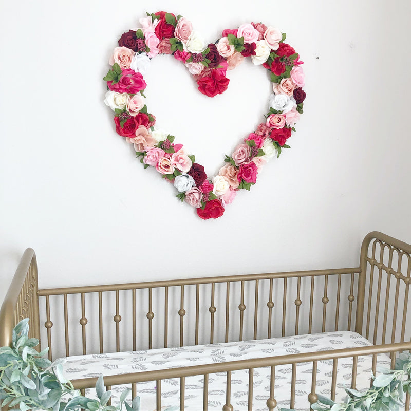 girl nursery decor girl heart decor heart wall hanging floral wall hanging flower wall art
