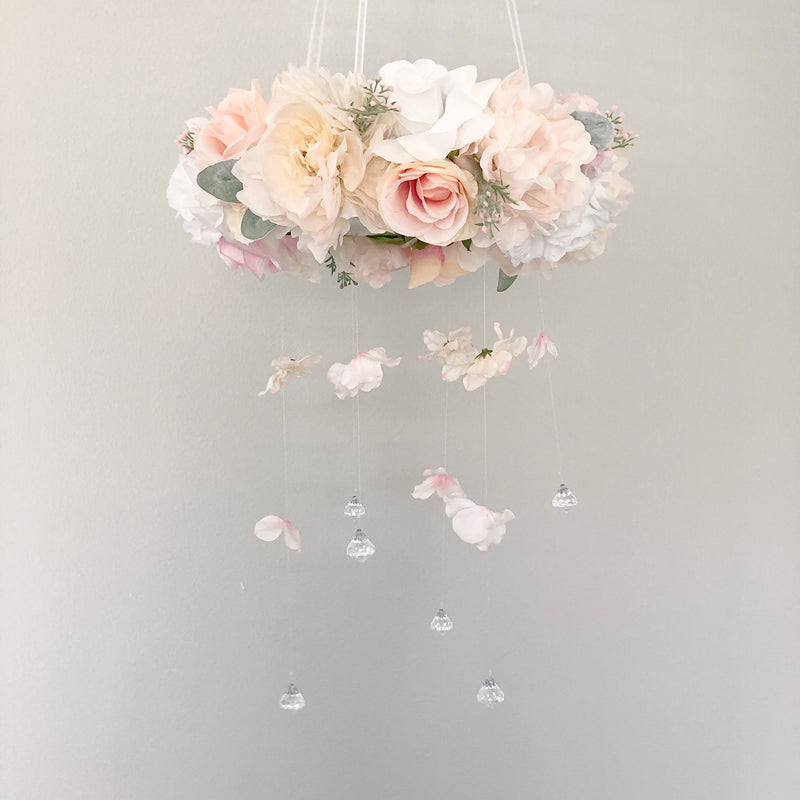 shabby chic nursery decor baby girl gift flower mobile