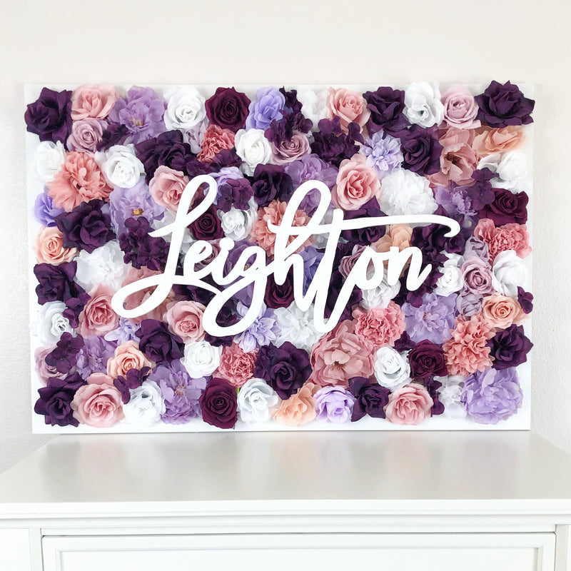plum nursery decor flower wall nursery decor girl nursery decor name sign