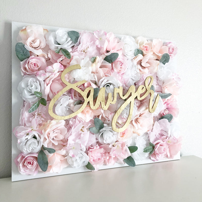 baby name sign baby name reveal flower wall nursery decor
