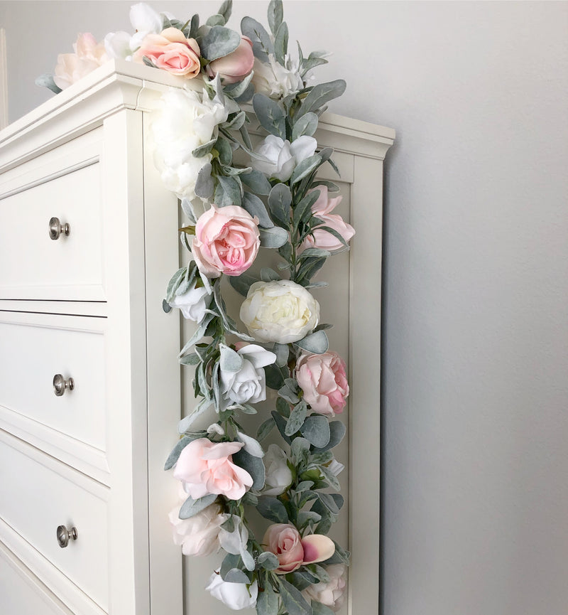 blush garland nursery garland decor floral nursery decor girl nursery baby shower decor bridal shower decor garland wedding garland