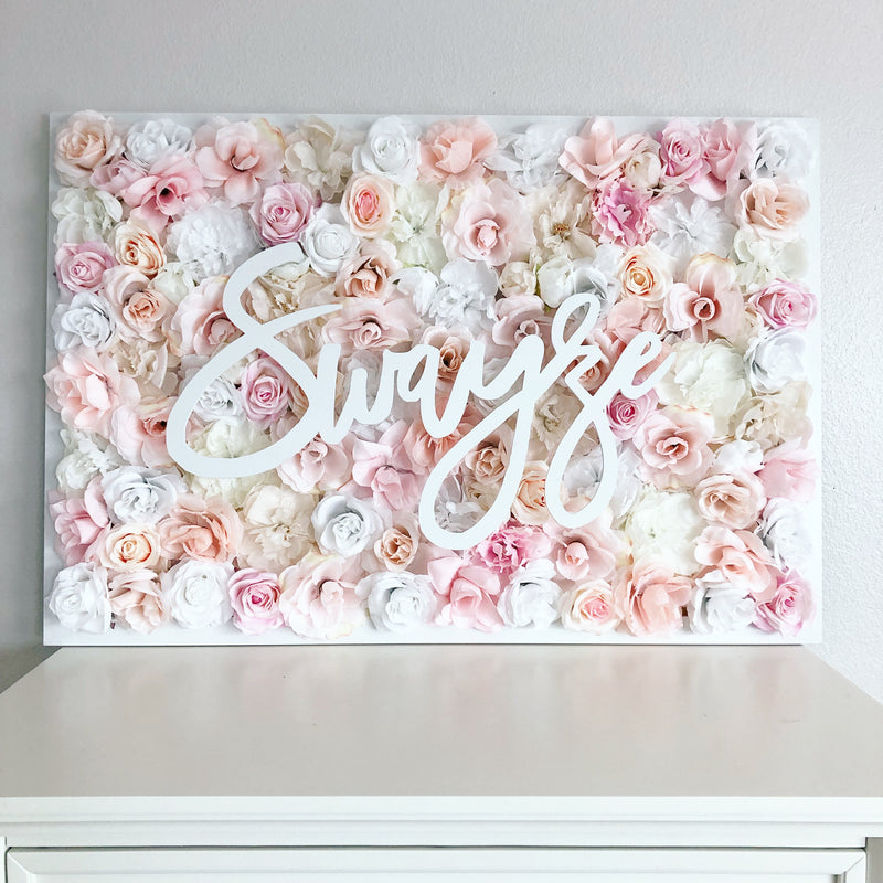 blush pink nursery decor blush pink flower wall name sign girl nursery decor girl name sign