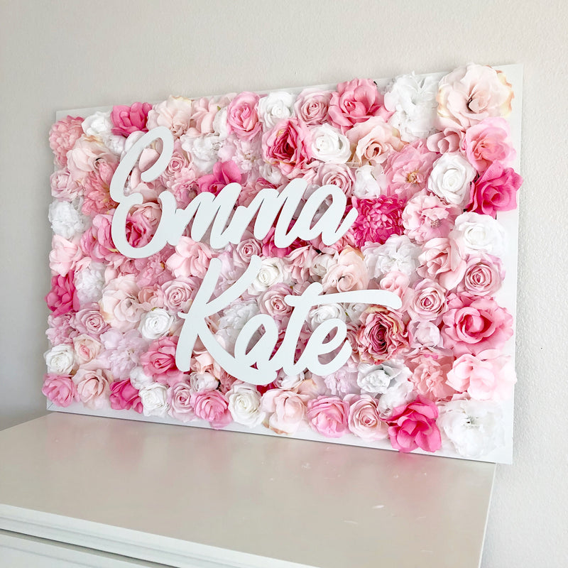 pink baby shower decor nursery name sign flower wall nursery decor girl nursery decor name sign