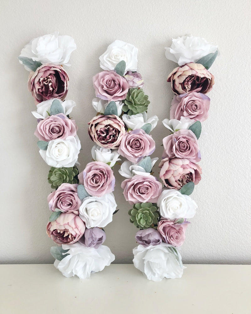 rose decor peony decor floral decor flower letter floral letter flower wall art
