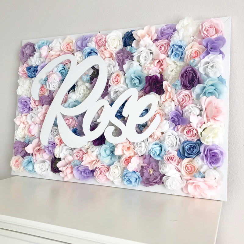 flower wall nursery decor girl nursery decor name sign