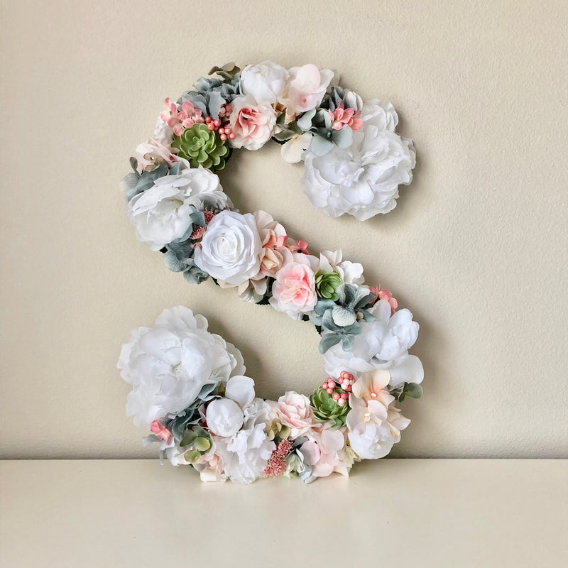 bridal shower decor baby shower decor baby name sign floral letter