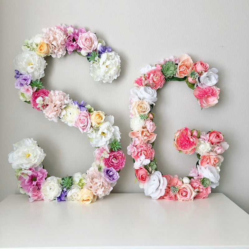 girl room decor wall art teen girl wall art custom wall art floral letter