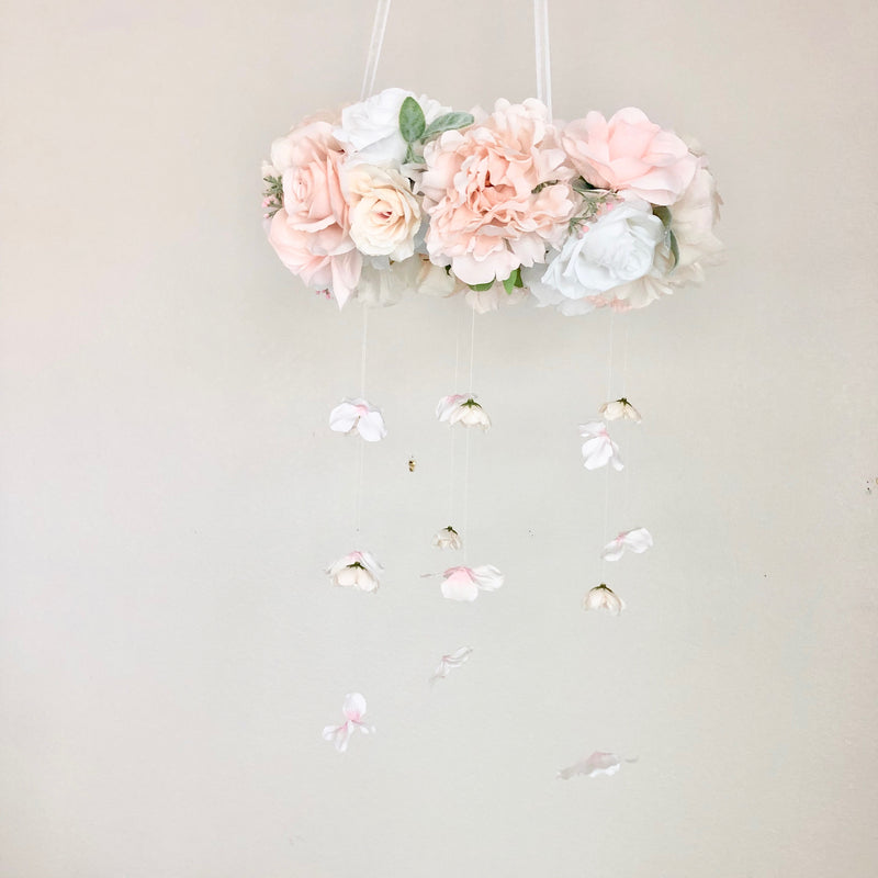blush nursery decor blush decor baby mobile girl mobile floral mobile