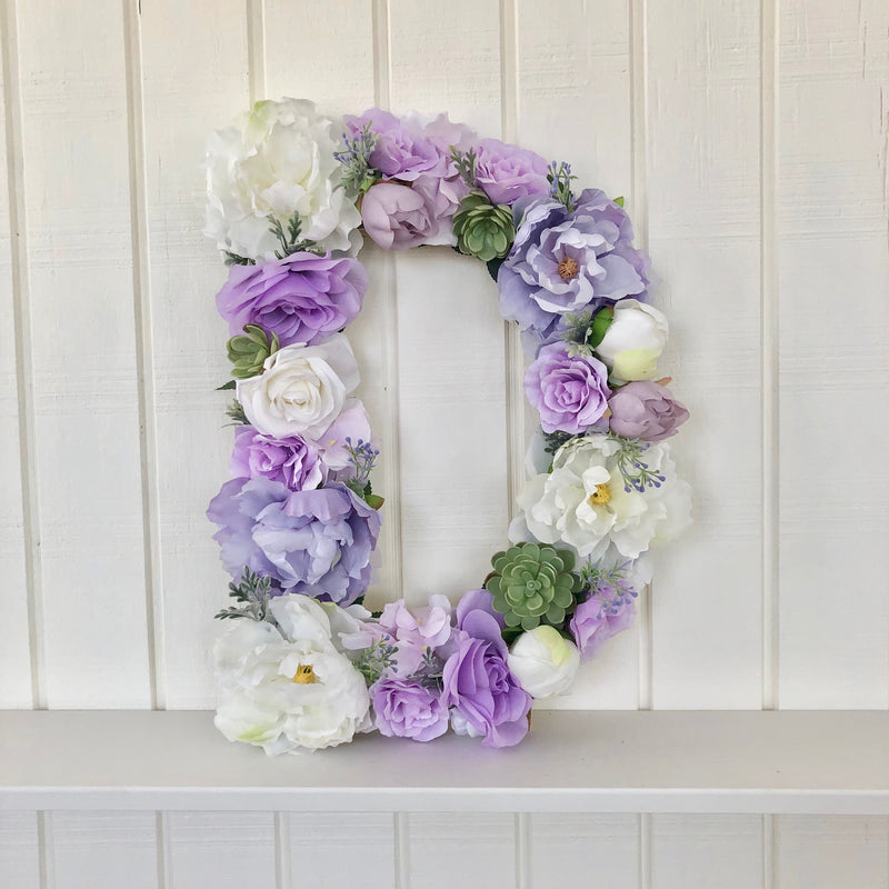 floral letter lavender room decor lavender decor lavender nursery wall art