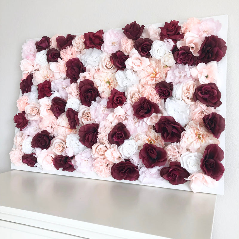 blush and burgundy nursery blush and Burgundy wedding flower wall wedding flower wall nursery