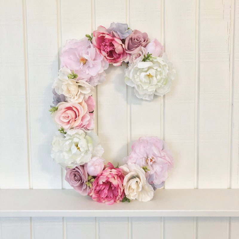 floral letter flower letter pink and cream decor pink and white baby shower decor