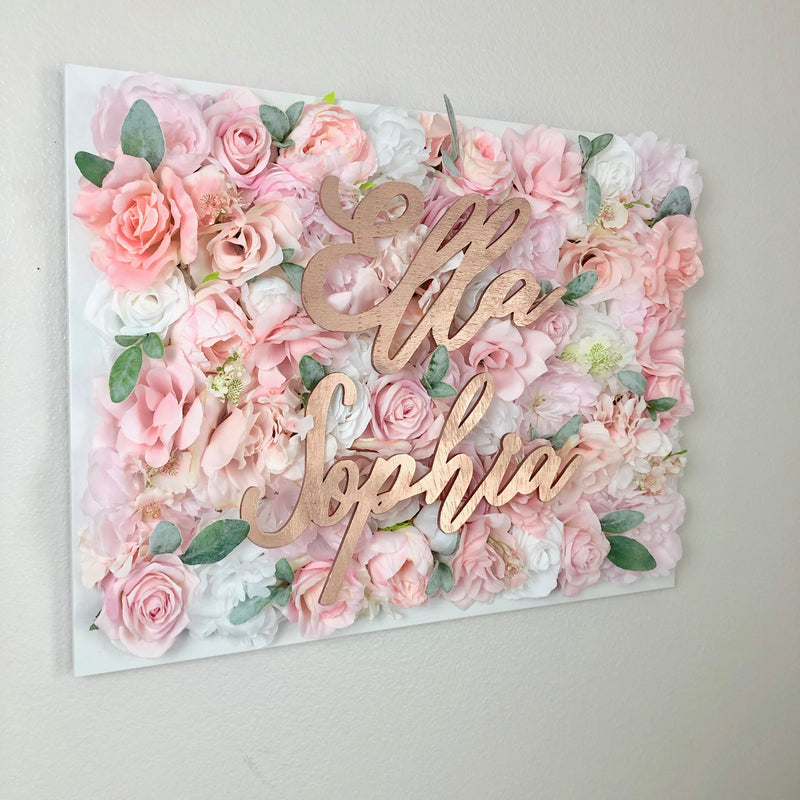 flower wall nursery decor girl nursery decor name sign shabby chic wall art
