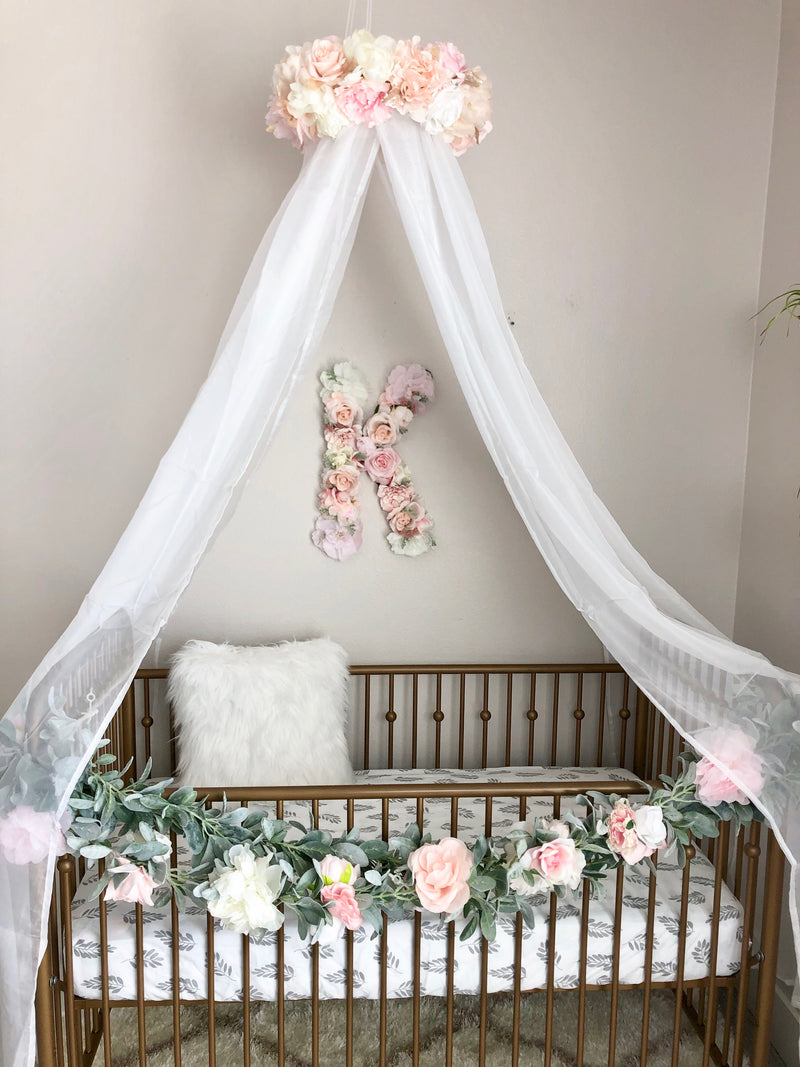 floral nursery canopy mobile