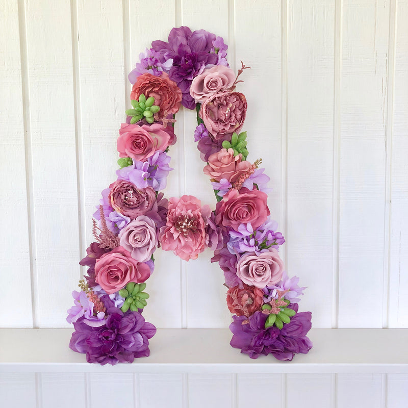 purple nursery mauve nursery floral letter flower letter jewel tone nursery decor