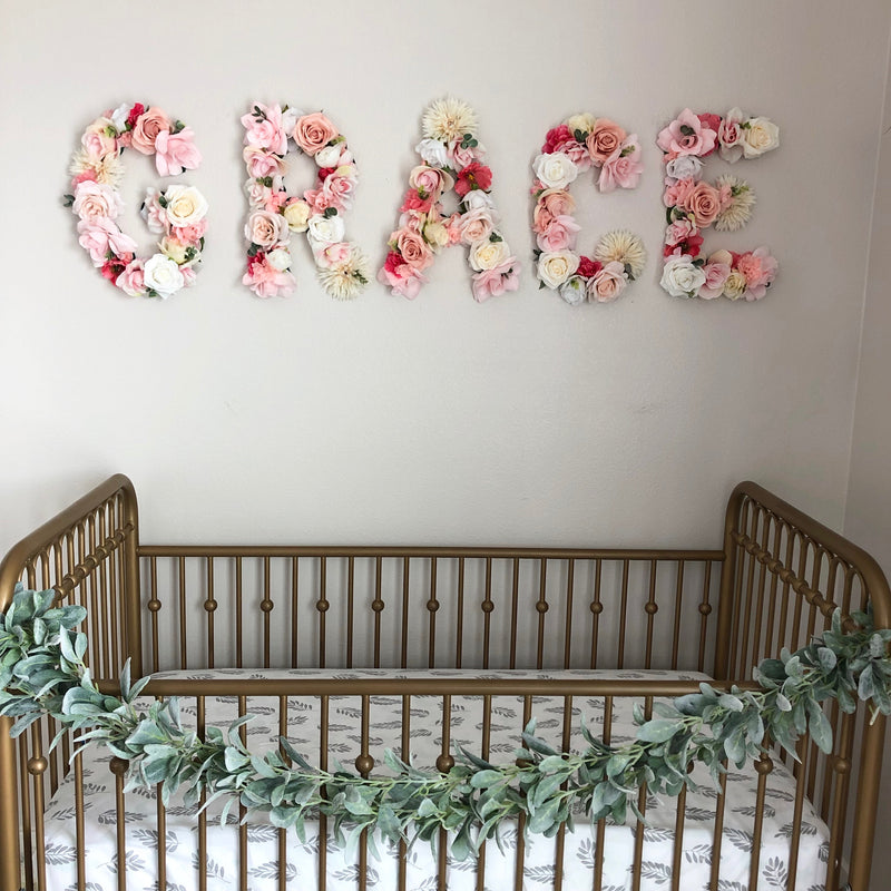 baby name sign over the crib name sign name reveal sign floral letter flower letter girl name sign