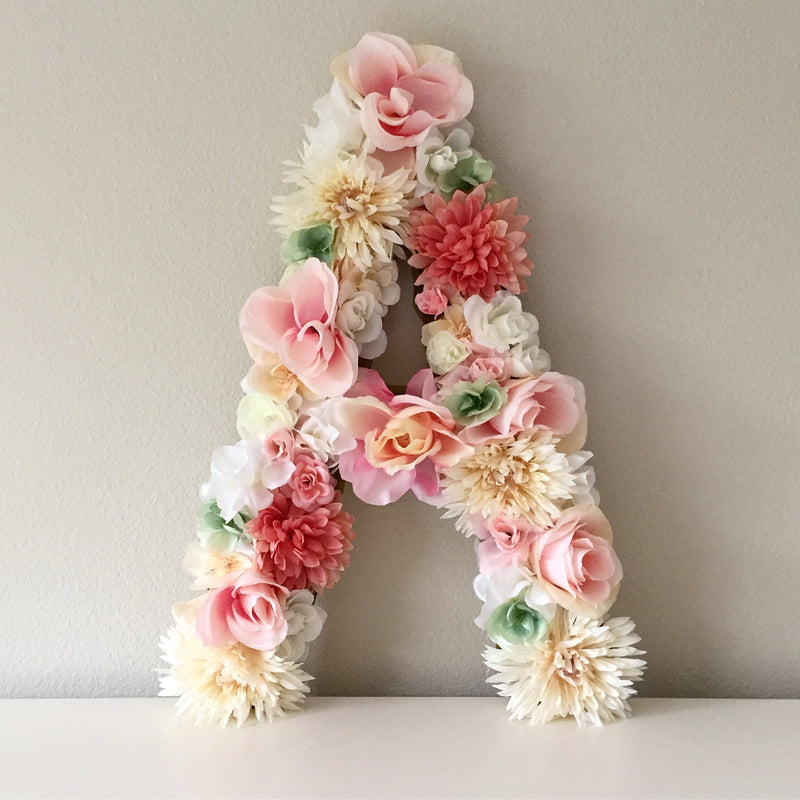 floral letter flower letter nursery name sign nursery letter girl room decor dorm name sign