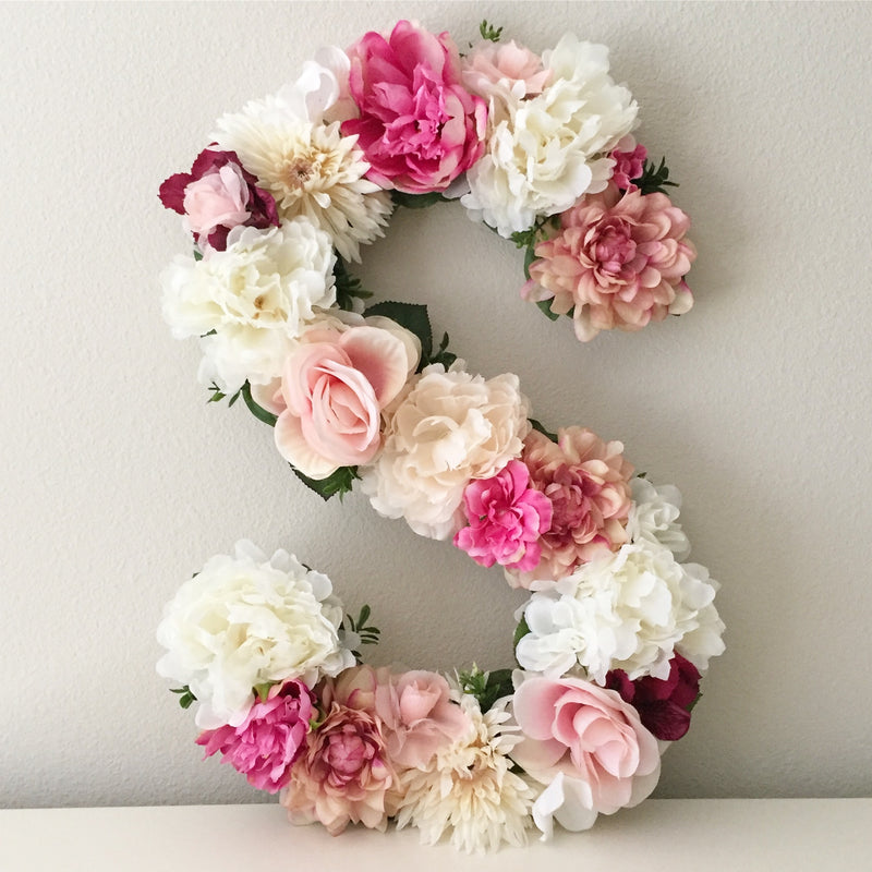 floral letter flower letter girl nursery decor girl flower wall decor
