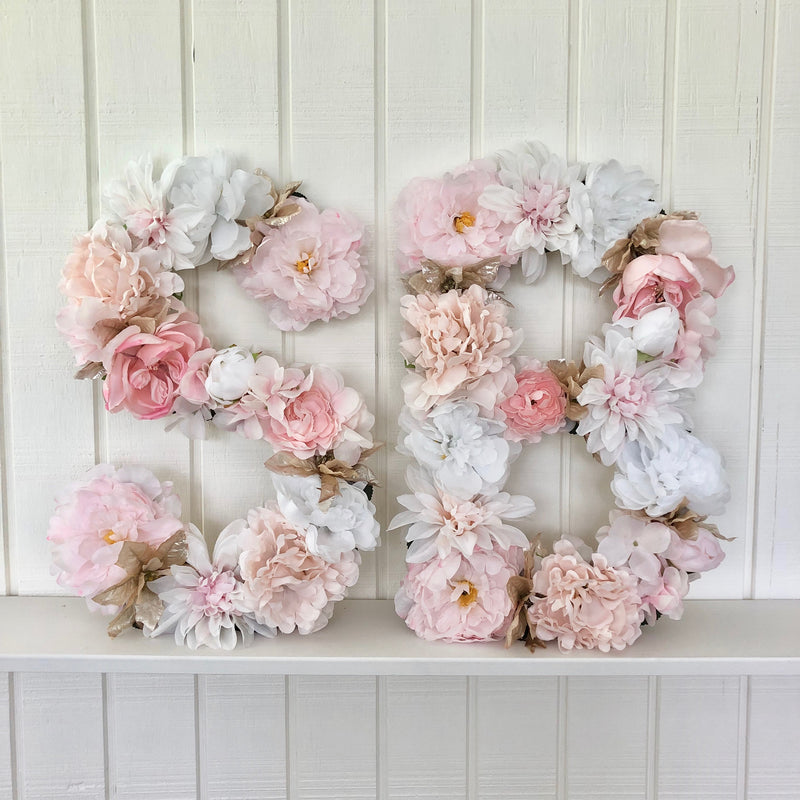 baby shower decor baby shower initials baby name sign floral letter blush nursery