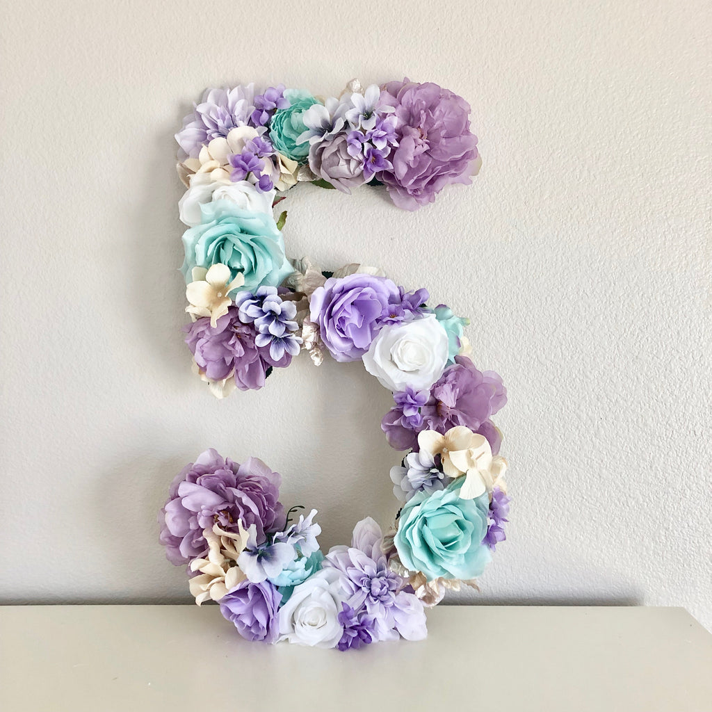 mermaid birthday party decor floral number flower number birthday number