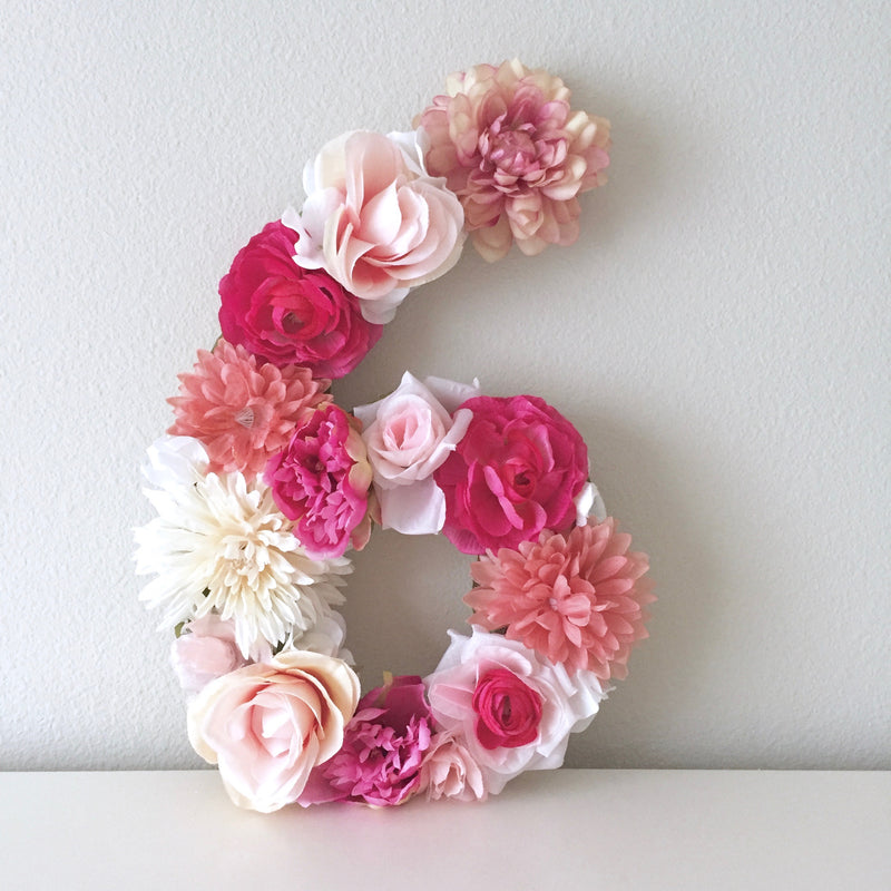 6th birthday flower number floral number pink number decor birthday number