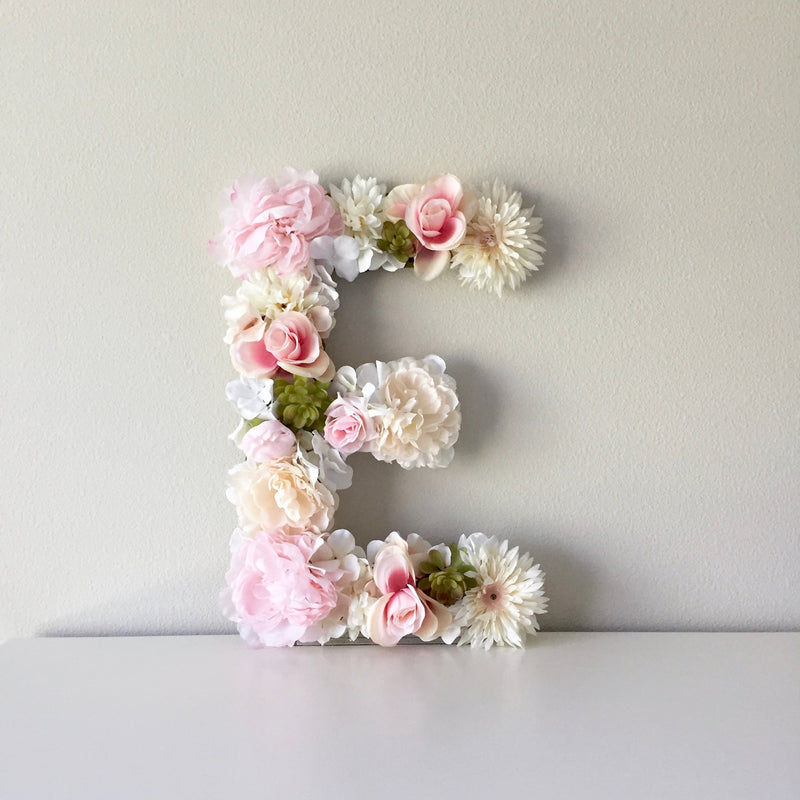 girl nursery decor wall art floral letter