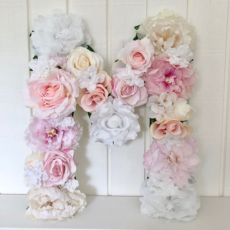 floral letter flower letter blush nursery blush and white decor baby girl name art