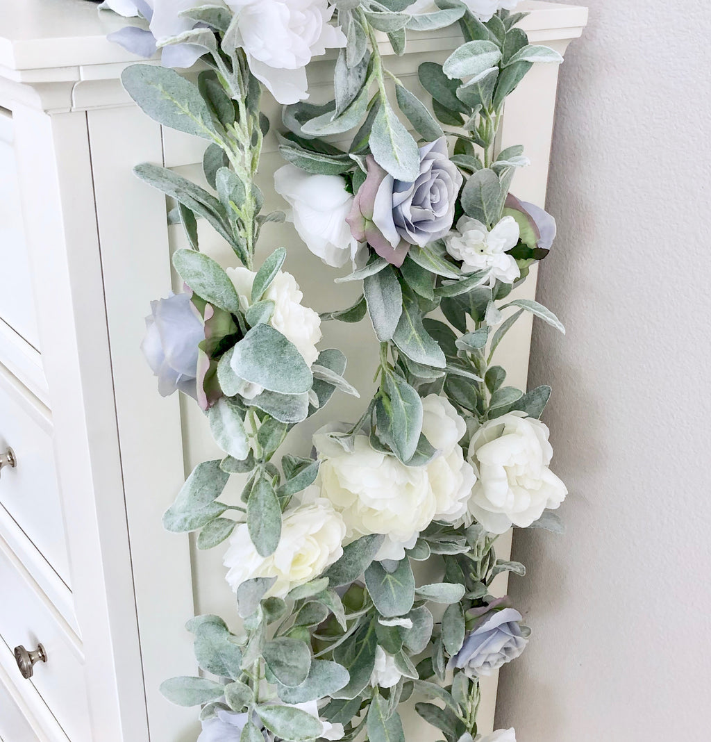 dusty blue wedding decor blue garland boho wedding flowers boho wedding decor boho baby shower baby shower boy baby shower